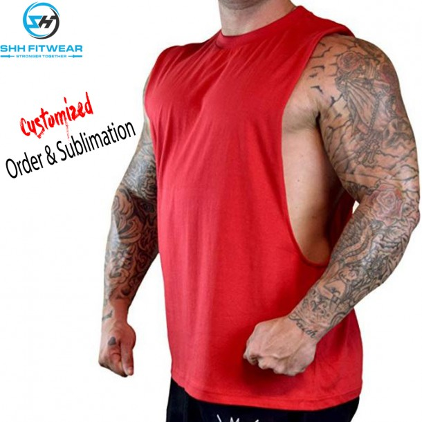 Men's Good Tee SHH Red Gym T-Shirt Tank Top Bodybuilding GYM Training TT004